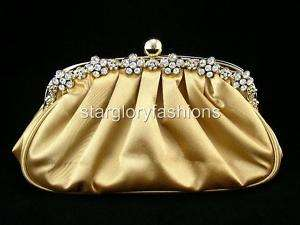 Gold Frame Crystal Flower Wedding Purse Clutch Gold/Tan