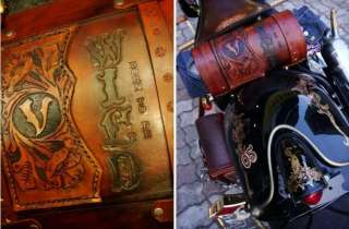 100%HANDMADE LEATHER ROLL TOOL BAG harley chopper honda