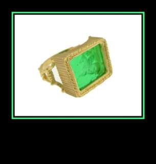 14K Yellow Gold Engraved Horse Green Stone Ring Italy