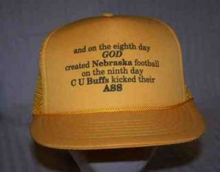 TRUCKER HAT * BASEBALL CAP * Comic CU BUFFS beat NEBRASKA *
