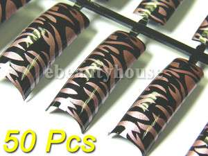 pcs Pre Design French Acrylic False Nail Tips Nail Art #021A 06
