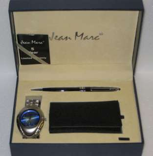 New Jean Marc Blue Mens Watch/Pen/Key Wallet Set NIB