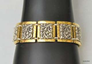 Beautiful New LOIS HILL Repousse Sterling Silver Gold Square Station