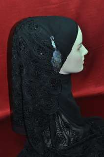 EmbroideredHandmade Silk Scarf Wrap Hijab Black Floral