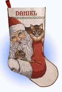 Design Works X Stitch Kit  Santa With Cats Stocking