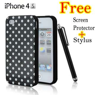 Pink White Polka Dots Silicone TPU Skin Cover Case for iPhone 4 4G 4th