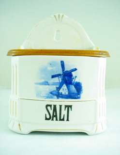 Antique Blue & White SALT BOX Dutch Windmill Scene