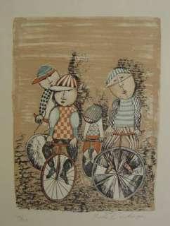 GRACIELA RODO BOULANGER, Bicycling lithograph, UNFRAMED