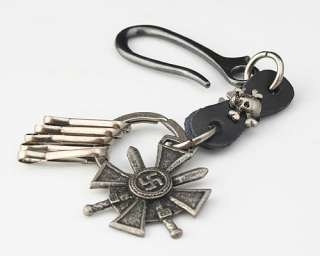 Punk Rock Gothic Biker Skull & Leather Keyring Holder Keychain Key