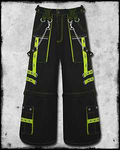NEON YELLOW FEAR STRAP CHAIN RAVE CYBER BAGGY TROUSERS PANTS