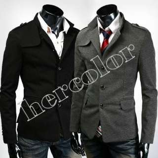 New Mens Fashion Slim Fit TOP Designed Coat Jacket Black Gray M L XL