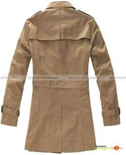Men Slim Single Breasted Long Trench Coat Jacket #004