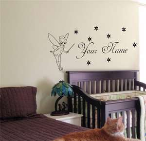 CUSTOM PERSONALIZED BABY NAME TINKERBELL FAIRY WALL STICKER BOY GIRL