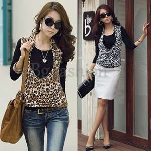 Womens Long Sleeve Tops 2 PCS Blouse Shirt+Leopard Print Vest Tank S