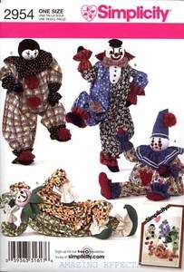 Simplicity Pattern 2954   20 CLOWNS Jester Doll toy sewing |