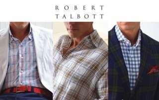 195 NEW ROBERT TALBOTT CARMEL Blue White Shirt M