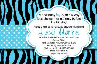 Custom Blue Zebra Print Polka Dot Baby or Bridal Shower Invitation