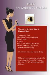 Vintage Fine Jewelry 14 kt Gold Black Onyx Ring Size 7