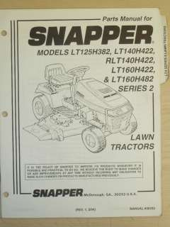 SNAPPER RIDING LAWN MOWER PARTS MANUAL, MANUAL NO. 06432