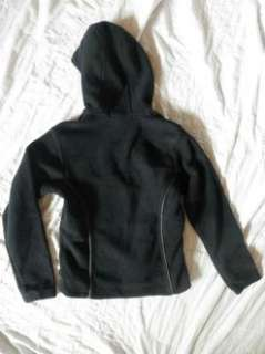 COLUMBIA Small* BLACK ZIP UP FLEECE HOODIE/JACKET~Side Pockets~WARM