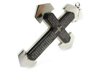 316L Mens silver CROSS jesus bible Stainless Steel Pendant Necklace