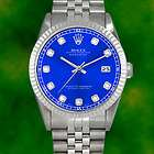 Rolex Mens Datejust Diamond Dial SS Stainless Steel Jubilee Blue Date