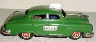 VINTAGE 1950S MARX LINE MAR BATTERY OPERATED TIN POLICE CAR GOOD
