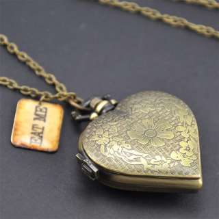 EAT ME Alice In Wonderland HEART Pocket WATCH Necklace