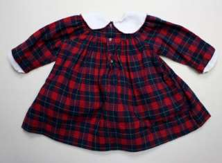 Boutiques Smocked Red Blue Flannel Dress Long Slv 12 M Baby Girl