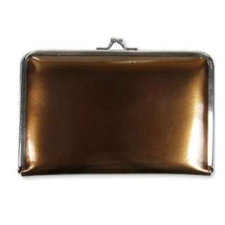 Brown Bronze Patent Kiss Lock Ladies Hinge Wallet