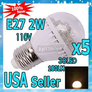 E27 2W 110V 38LED Small Warm White LED Lamp Light Bulb
