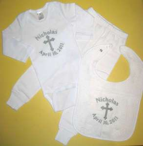 Personalized CHRISTENING OUTFIT Onesie Pants Bib SET