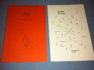 lot of 2 *ROBERT LAX* POETRY BOOKS ~ SNOW FLAKE & TIGER