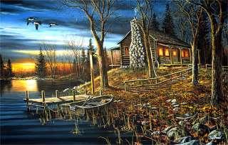 Jim Hansel Complete Serenity Cabin Lake Print 33 x 17