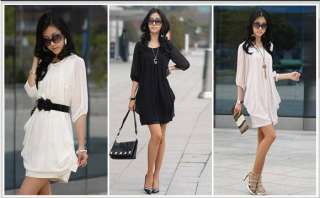 Large Size Women Lady 3/4 Sleeve Chiffon Casual Slim Mini Dress Top