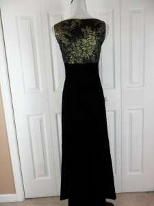Kay Unger New York 2 Long Black Gold Evening Gown Dress Velvet Prom