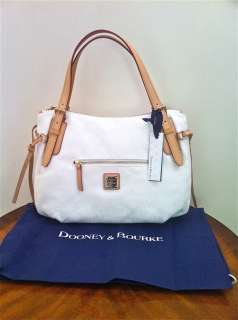 NEW DOONEY & BOURKE White NINA Large Signature Logo and Shoulder Bag