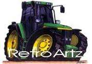 RetroArtz Cartoon Car Print John Deere Tractor in Green
