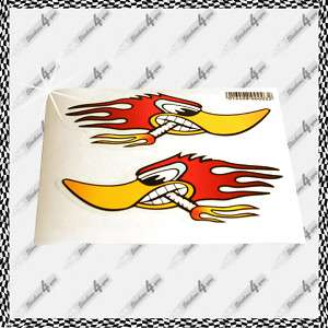 MINI AUFKLEBER Set RACING DUCK+FLAMMEN *HOT ROD STICKER