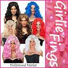 Womens HOLLYWOOD STARLET WIG Long Curly Hair ALL COLOURS FAST POST
