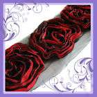 C1201 7cm Red Ruffle Lace Edge Rose dress Trim By Meter