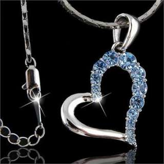 GOLD PLATED GP JEWELRY USE CRYSTALS LOVE HEART PENDANT NECKLACE N007