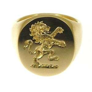 NEW 18ct 750 19.3g Gold Family Crest Signet Ring 16mm