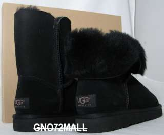 NEUF UGG BAILEY BUTTON NOIR BLACK BOOTS BOTTES FEMME 37