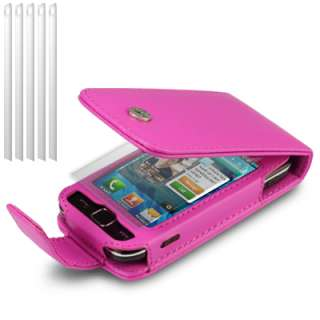 PU LEATHER FLIP CASE FOR SAMSUNG 525, W/6 LCD GUARDS