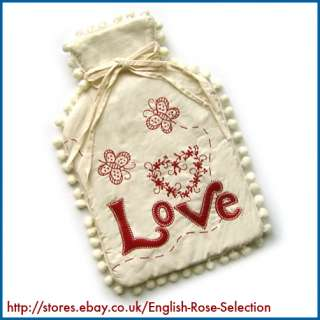 LOVE* HOT WATER BOTTLE COVER New Flower Heart Appliqué Floral