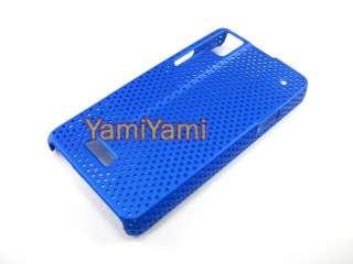 Plastic Hole Skin Protector Case Motorola Milestone XT720 Deep Blue