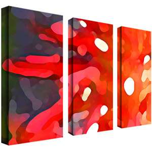 Trademark Art Red Sun Giclee Canvas Art, 3pc Vertical