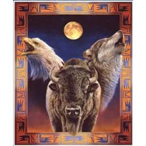 Wolf Eagle Buffalo Blanket Hallowed Harmony: Home & Kitchen