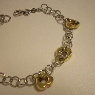 Bracciale in Oro Bianco e Giallo 18 kt   Catena e Cuori oro giallo